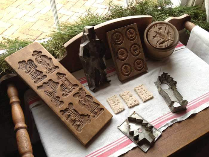 Display of springerle molds and cookie cutters at Deutschheim State Historic Site